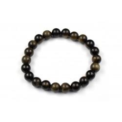 Bracelet élastique en pierres d'Obsidienne dorée 8 M