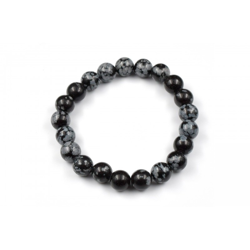 Bracelet élastique avec pierres en Obsidienne Mouchetée 8 M