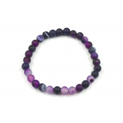 Bracelet Agate Violette dépolie 6mm M