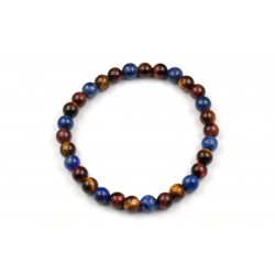 Bracelet Lapis lazuli, Oeil de tigre, Oeil de taureau 6mm M