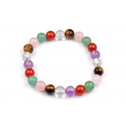 Bracelet Aventurine, Cornaline, Cristal de Roche, Oeil de tigre, Quartz rose 8mm M