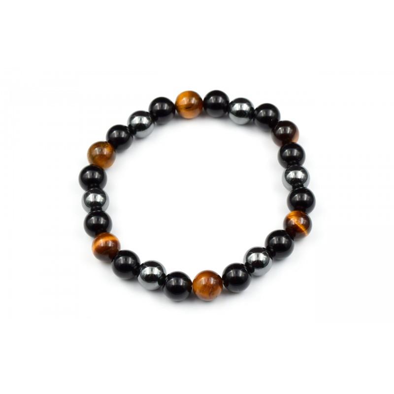 Bracelet Oeil de tigre, Hèmatite, Obsidienne noire 8mm M