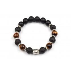 Bracelet Homme Oeil de tigre, Lave et Onyx 10mm M