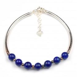 Bracelet Argent 0.925 Lapis Lazuli 6mm M