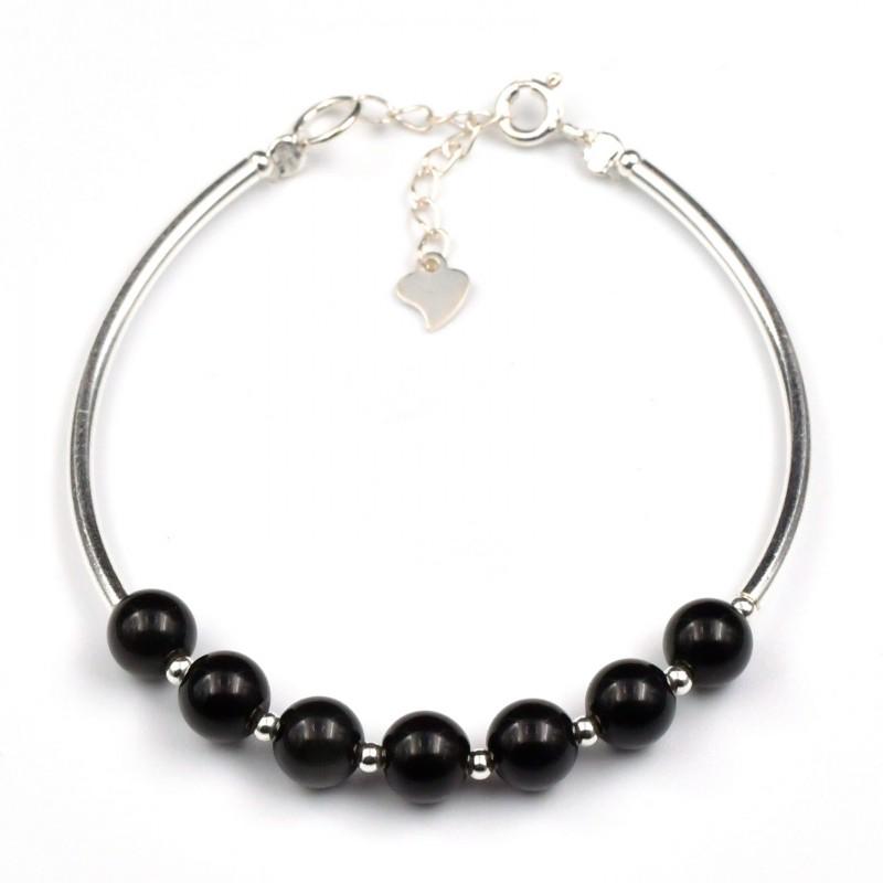 Bracelet Argent 0.925 Obsidienne Oeil Céleste 6mm M