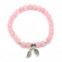 Bracelet Feuille Quartz Rose