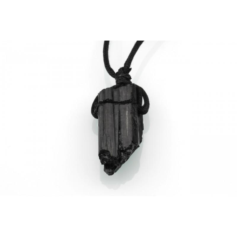 Pendentif Tourmaline Noire - Pierre brute avec lacet
